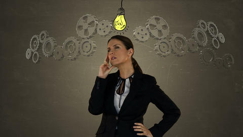 Businesswoman on the phone with graphics Animation
