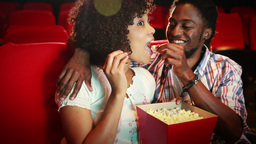 Cute couple watching a movie Footage