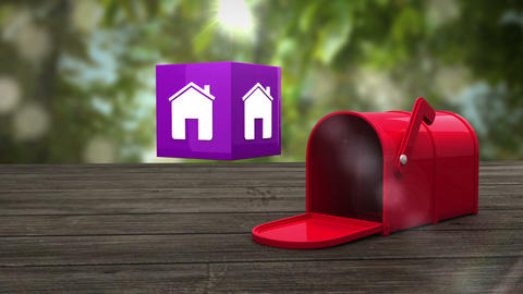 Post box opening to show at house icon Animation