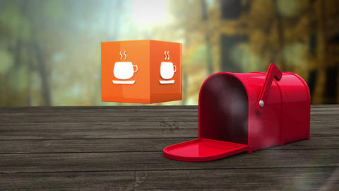 Post box opening to show at mug icon Animation