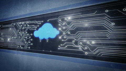 Cloud and circuit board in pixel design Animation