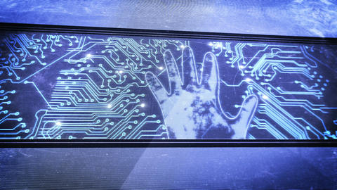 Hand print and circuit boards Animation