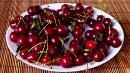 Plate With Mouthwatering Cherries, Stop Motion, Static Shot stock footage