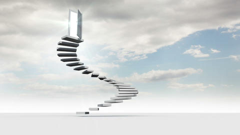 Steps with opening door in the sky with clouds Animation