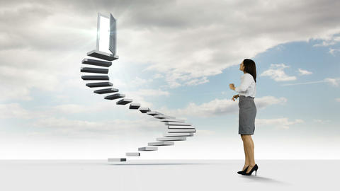Businesswoman looking at steps with an opening doors in the sky Animation