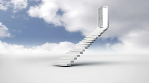 Stair with an opening door in the cloudy sky Animation