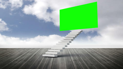 Stair with a green screen on a wood ground Animation
