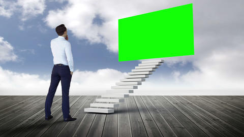 Businessman looking at stair with green screen on wood ground Animation