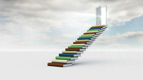 Stair made of books with an opening door in the cloudy sky Animation