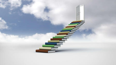 Stairs made of books in the cloudy sky Animation