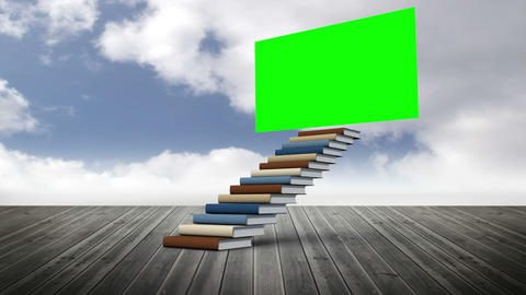 Green screen with stair made of books on a wood ground Animation
