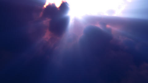 Blue Clouds Rays Flyby (Loop) Stock Video Footage