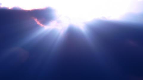 Blue Clouds Rays Flyby (Loop) Stock Video Footage