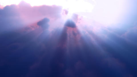 Blue Clouds Rays Flyby (Loop) Animation