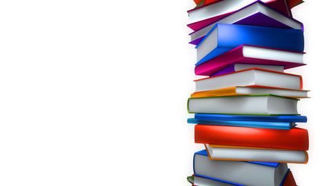 Colorful Books Stack on white (Loop) Stock Video Footage