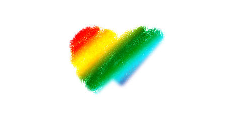 Rainbow Heart Drawing Stock Video Footage