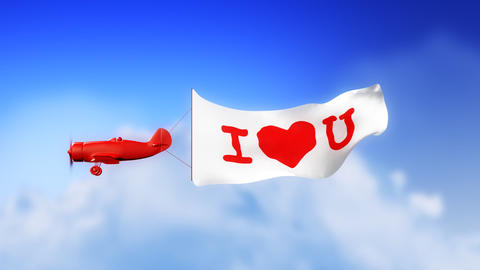 I Love You Plane in Clouds (Loop) Stock Video Footage