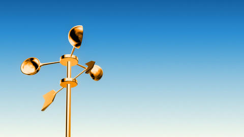 Anemometer Gold (Loop with Luma Matte) Stock Video Footage