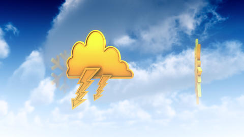 Meteo Symbols in Clouds (Loop) Animation