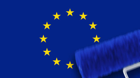 Painting Flag - EU Stock Video Footage
