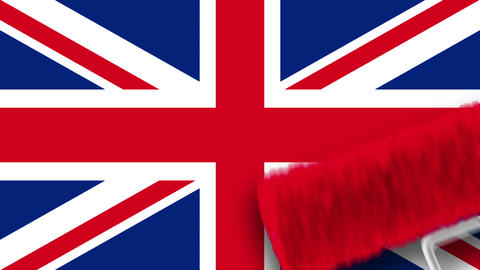 Painting Flag - UK Stock Video Footage