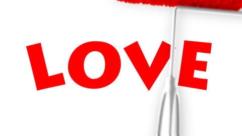 Love Text - Roller Painting (Loop with Matte) Stock Video Footage