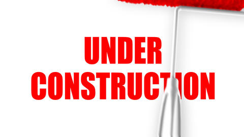 Under Construction Text - Roller Painting (Loop with Matte) Stock Video Footage