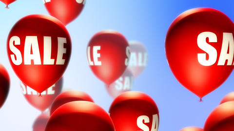 Balloons Sale Red on Blue (Loop) Animation