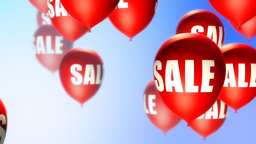Balloons Sale Red on Blue (Loop) Stock Video Footage