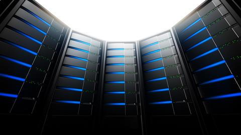 Network Servers in Circle (Loop) Stock Video Footage