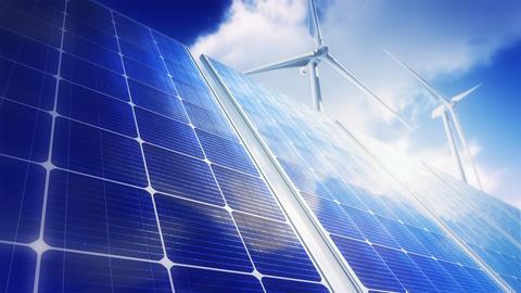 Solar Panels and Wind Turbines (Loop) Stock Video Footage