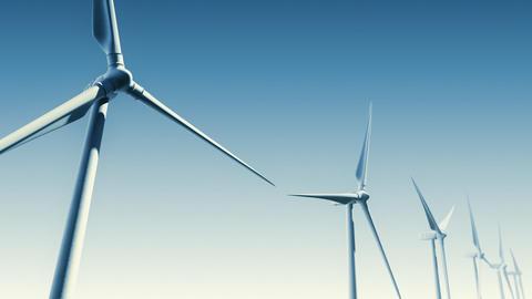 Wind Turbines on Blue (Loop with Matte) Stock Video Footage