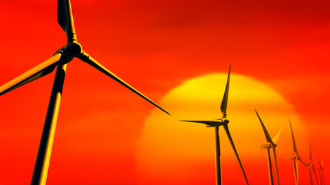Wind Turbines on Sunset (Loop with Matte) Stock Video Footage