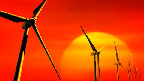 Wind Turbines on Sunset (Loop with Matte) Stock Video Footage
