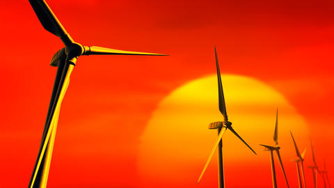 Wind Turbines on Sunset (Loop with Matte) Animation