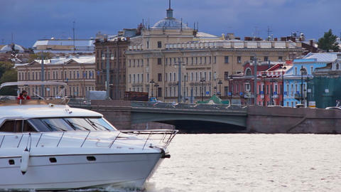 Blagoveshchensky Bridge, pan right to left Stock Video Footage