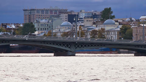 Blagoveshchensky Bridge, pan right to left Footage