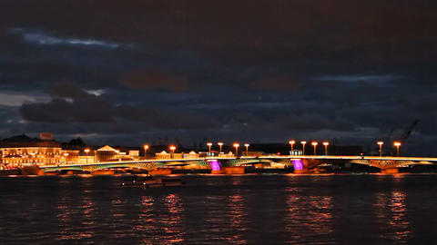 Blagoveshchensky Bridge, night, timelapse Footage