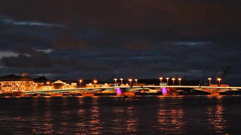 Blagoveshchensky Bridge, night, timelapse Stock Video Footage