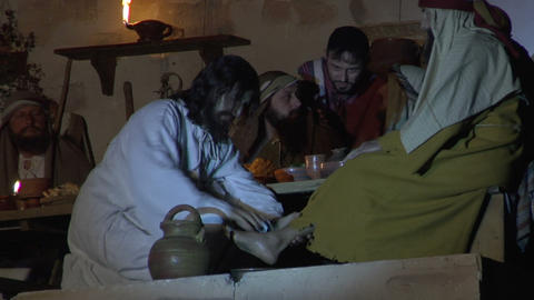 last supper washing feet Stock Video Footage
