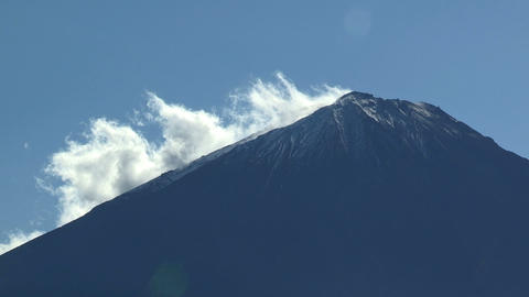 Mt.Fuji and movement of the cloud,in Yamanashi,Japan Stock Video Footage