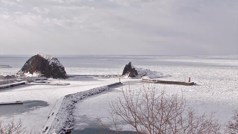 Winter landscape in Utoro,Siretoko,Hokkaido,Japan Stock Video Footage