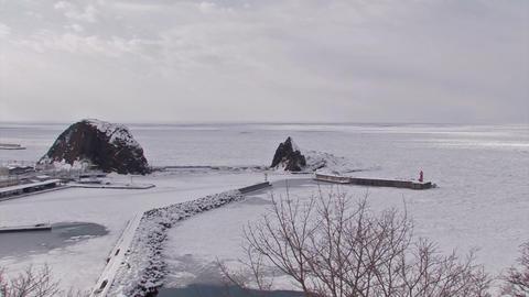 Winter landscape in Utoro,Siretoko,Hokkaido,Japan ビデオ