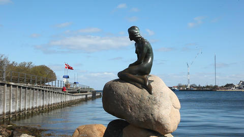 Little Mermaid Copenhagen Stock Video Footage
