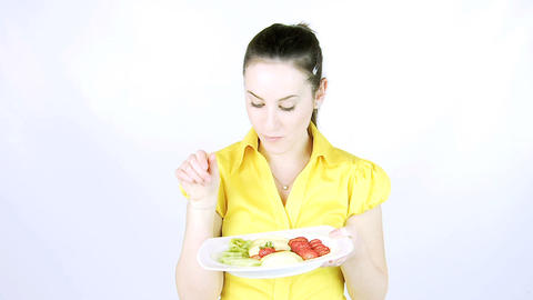 Girl eating fresh fruit Footage