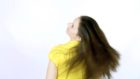 Sexy girl undoing ponytail slow motion Stock Video Footage