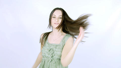 Beautiful female model dancing slow motion Stock Video Footage