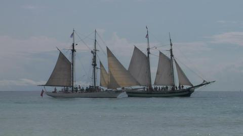schooner battle 02 Stock Video Footage