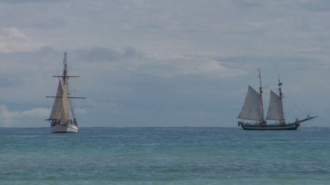 schooner battle 04 Stock Video Footage