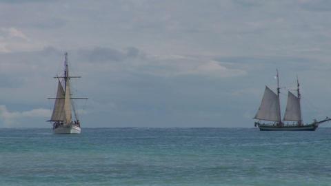 schooner battle 04 Stock Video Footage